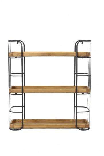 Nástenná polička 3 posch. 70x22,5x77 cm ZYRA black+wood