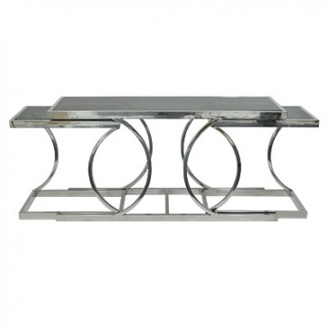 Kozolový stolík so sklom 150x43x75cm