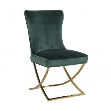 Stolička Scarlett Green velvet / zlatá