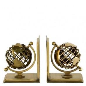 Zarážka do knižnice Glóbus set of 2 antique brass finish