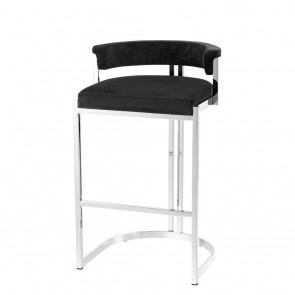 Barová stolička Dante polished ss black velvet