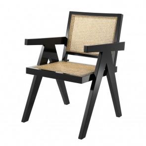 Jedálenská stolička Adagio black finish natural cane