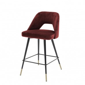 Barová stolička Avorio roche bordeaux red velvet