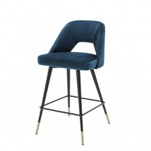 Barová stolička Avorio roche blue velvet