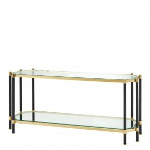Konzolový stolík Florence gold & black finish