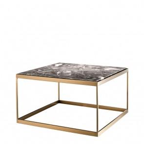 Bočný stolík La Quinta brushed brass finish grey mar