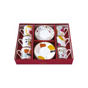 Set pre 6 osôb - porcelánový hrnček espresso s tanierikom, 100ml, Coffee Mania Modern