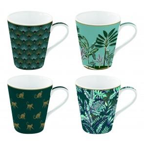Hrnček porcelánový, set 4ks 260ml, krabička, Coffee Mania Jungle
