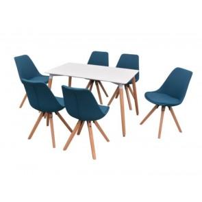 Fedora 7-dielna jedálenská súprava stola a stoličiek, bielo-modrá