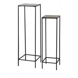 Bočný stolík S/2 max 30x30x120 cm HARTSVILLE dark brown bronze