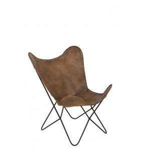 Kožené kreslo 75x87x86 cm BUTTERFLY leather brown