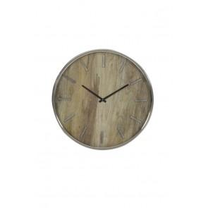 Hodiny Ø51 cm TIMARU wood-nickel