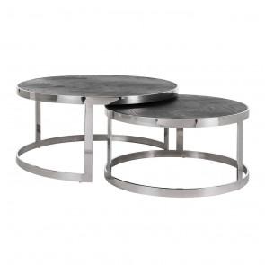 Kávový stolík Blackbone strieborný, set 2 ks