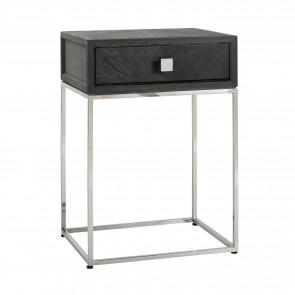 Nočný stolík čierna, strieborná 1-zásuvka