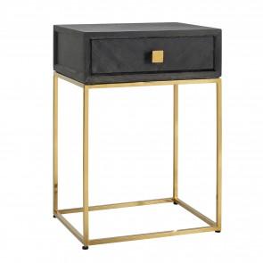 Nočný stolík čierna, zlatá 1-zásuvka