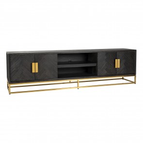 TV skrinka 220 čierna, zlatá 4-dvierka