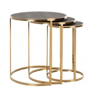 Bočný stolík Calesta set 3 ks, okrúhly, imitácia žraločej kože