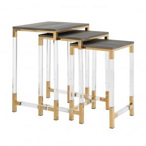 Bočný stolík Calesta set 3 ks, imitácia žraločej kože