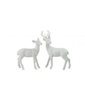 Vianočná dekorácia - set 2 ks bielych jelenčekov, rozmer 22x6,5x28 cm