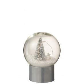 Vianočné snežítko strieborné, LED svetlo so stromčekom, rozmer 15x19 cm