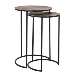 Bočný stolík Lohan, set 2 ks, zlatý