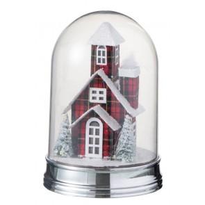 Vianočná dekorácia LED svetlo s kostolíkom, rozmer 16x23 cm