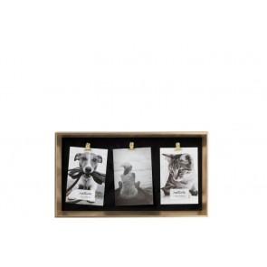 Fotorámik s tromi štipcami, imitácia čiernej kože v zlatom ráme, na tri fotky