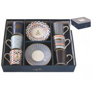 Set pre 6 osôb - porcelánový hrnček espresso s tanierikom, 100ml, Coffee Mania Bord De Mer