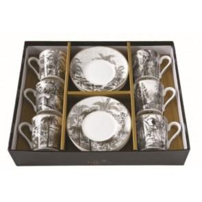 Set pre 6 osôb - porcelánový hrnček espresso s tanierikom, 100ml, Coffee Mania Retro Jungle