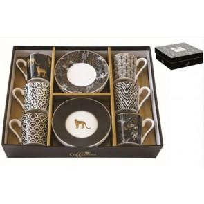 Set pre 6 osôb - porcelánový hrnček espresso s tanierikom, 100ml, Coffee Mania Savana