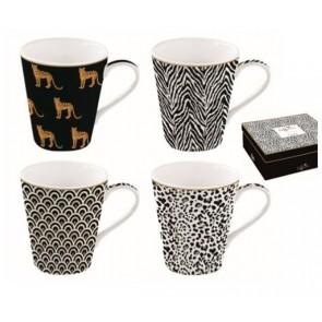 Hrnček porcelánový, set 4ks 260ml, krabička, Coffee Mania Savana