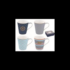 Hrnček porcelánový, set 4ks 260ml, krabička, Coffee Mania Bord de Mer