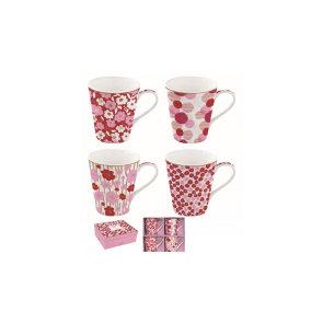 Hrnček porcelánový, set 4ks 260ml, krabička, Coffee Mania Flower Power