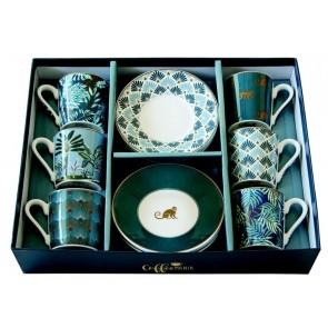 Set pre 6 osôb - porcelánový hrnček espresso s tanierikom, 100ml, Coffee Mania Jungle