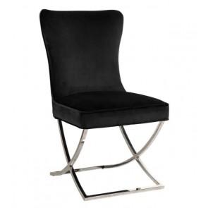 Stolička Scarlett čierna velvet / strieborná