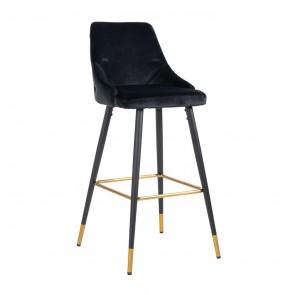 Barová stolička Imani čierny zamat