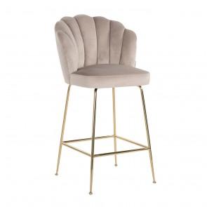 Barová stolička Pippa hnedý zamat / zlaté nohy