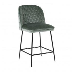 Barová stolička Pullitzer zelený zamat / čierne nohy